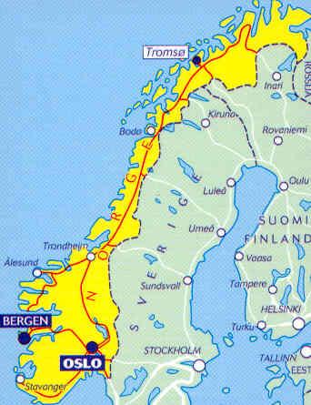 immagine di mappa stradale mappa stradale 752 - Norvegia