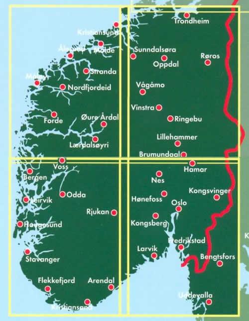immagine di mappa stradale mappa stradale Norvegia Centro-Sud - 2 mappe stradali - con Oslo, Bergen, Stavanger, Trondheim, Lillehammer, Alesund