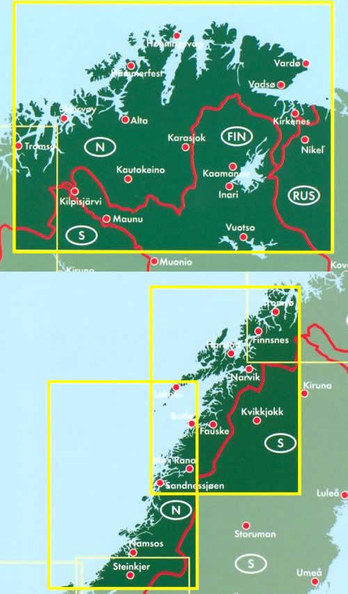 immagine di mappa stradale mappa stradale Norvegia Centro-Nord - 2 mappe stradali - con Steinkjer, Namsos, Fauske, Narvik, Hammerfest, Capo Nord
