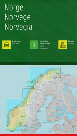 immagine di mappa stradale mappa stradale Norvegia - con Oslo, Stavanger, Molde, Bodø, Oslo, Drammen, Sarpsborg, Hamar, Lillehammer, Skien, Kristiansand, Arendal, Bergen, Leikanger, Trondheim, Tromsø, Vadsø - edizione 2021