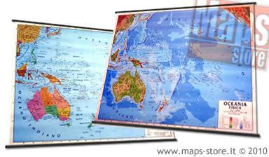 immagine di mappa murale mappa murale Oceania (Australia, Nuova Zelanda, Isole del Pacifico) - mappa murale plastificata, con aste - cartografia fisia e politica (stampata fronte/retro) - 143 x 100 cm
