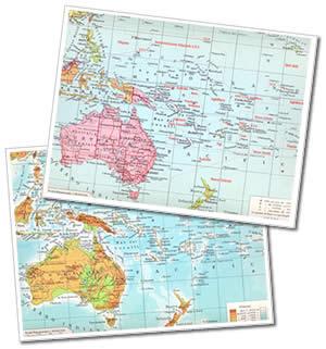 immagine di mappa scolastica mappa scolastica Oceania - Fisica e Politica - mappa plastificata 29 x 37 cm