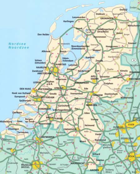 immagine di mappa stradale mappa stradale Olanda e Paesi Bassi/Nederland/Netherlands - con Amsterdam, Rotterdam, Eindhoven, Utrecht, Groningen, Den Haag/L'Aia - nuova edizione