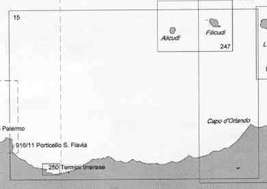 immagine di carta nautica carta nautica 15 - Da C.o d' Orlando a C.o Zafferano e Isole di Alicudi e Filicudi