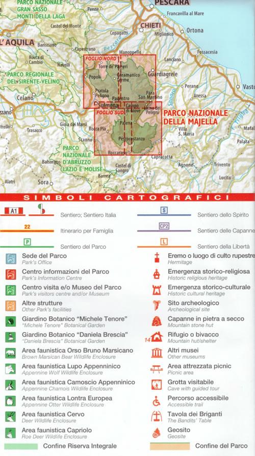 immagine di mappa topografica mappa topografica Parco Nazionale della Majella - set di 2 carte dei sentieri - con rifugi, percorsi CAI numerati, cascate, sorgenti, grotte, aree faunistiche - edizione 2020