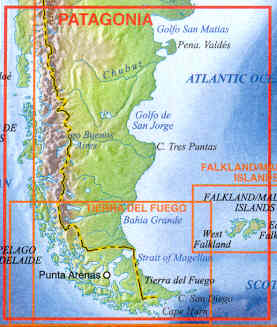 Patagonia Cartina Geografica.Mappa Stradale Patagonia Argentina Cile