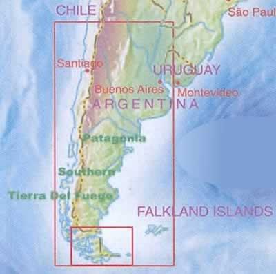 Patagonia Cartina Geografica.Mappa Stradale Patagonia E Terra Del Fuoco Tierra Del Fuego Con Isole Falkland