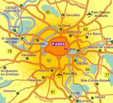 immagine di mappa stradale mappa stradale n.101 - Periferia di Parigi (con aeroporto di Charles de Gaulle, Paris Orly e dintorni di Cergy-Pontoise, Limours, Senart, Sarcelles)