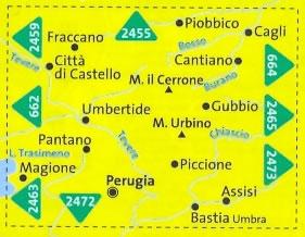 immagine di mappa topografica mappa topografica n.2464 - Perugia, Assisi, Città di Castello, Gubbio, M. Urbino, Umbertide, M. il Cerrone, Pantano, Magione, Bastia Umbra, Cagli - mappa plastificata - compatibile con GPS