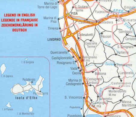 Livorno Cartina Geografica Italia.Mappa Stradale Provinciale Pisa E Livorno Con Isola D Elba