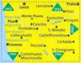 immagine di mappa topografica mappa topografica n.2457 - Pisa, Livorno, San Miniato, Empoli - Parco Regionale Migliarino, San Rossore Massaciuccoli, San Gimignano, Fucecchio, Certaldo, Collesalvetti, Peccioli - mappa plastificata, compatibile con sistemi GPS