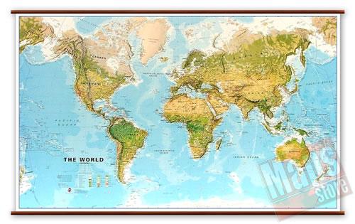 immagine di mappa murale mappa murale Planisfero Fisico e Ambientale - Plastificato e Laminato - cartografia molto dettagliata e aggiornata, con eleganti aste in legno e ganci in acciaio, facile da applicare a parete - 205 x 125 cm - edizione 2018