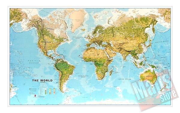 immagine di mappa murale mappa murale Planisfero Fisico e Ambientale - Plastificato e Laminato - cartografia molto dettagliata e aggiornata - 200 x 120 cm - nuova edizione