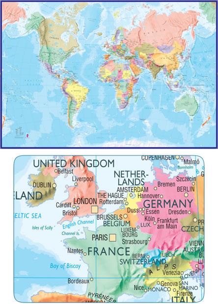immagine di mappa murale mappa murale Planisfero fisico-politico per bambini - grande formato, in 2 fogli, dimensione totale 232 x 158 cm