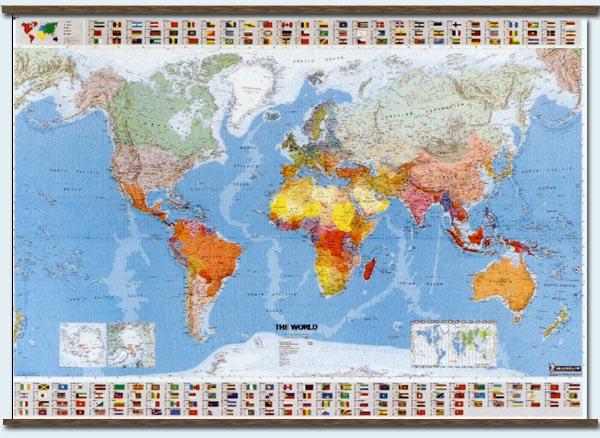 immagine di mappa murale mappa murale Planisfero Fisico-Politico, con bandiere, plastificato 144x100cm