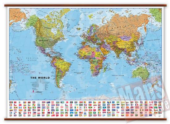 immagine di mappa murale mappa murale Planisfero fisico e politico con bandiere - Plastificato e Laminato - cartografia molto dettagliata e aggiornata, con eleganti aste in legno e ganci in acciaio - 140 x 105 cm - nuova edizione