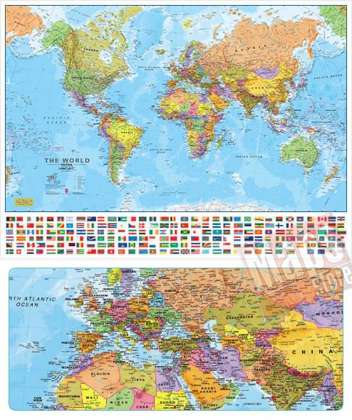 immagine di mappa murale mappa murale Planisfero fisico e politico con bandiere - Plastificato e Laminato - 136 x 100 cm - edizione 2018
