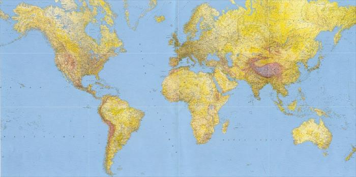 immagine di mappa murale mappa murale Planisfero Fisico-Politico, in 12 fogli, Formato Gigante 400x200cm