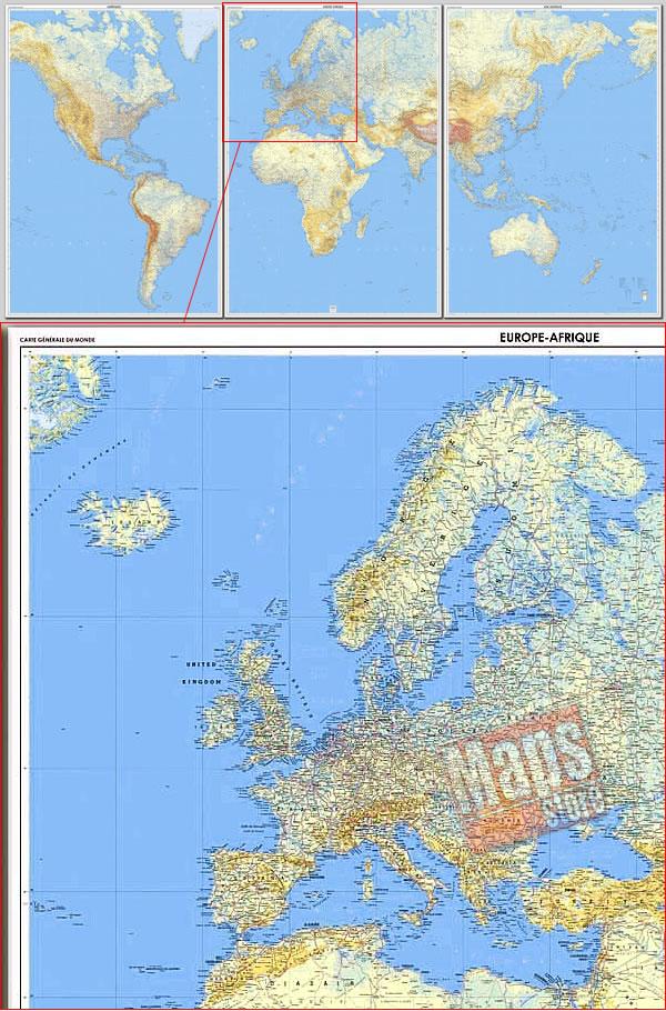 immagine di mappa murale mappa murale Planisfero Fisico e Politico - in 3 fogli plastificati, dimensione totale 289 x 143 cm - adatto per l'arredamento di casa, studio e ufficio - nuova edizione