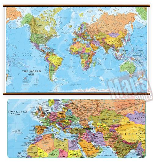 immagine di mappa murale mappa murale Planisfero Fisico-Politico, Plastificato e Laminato - con cartografia molto dettagliata e aggiornata, con eleganti aste in legno e ganci in acciaio, facile da applicare a parete - 200 x 125 cm - nuova edizione