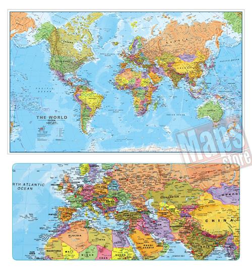immagine di mappa murale mappa murale Planisfero Fisico-Politico, Plastificato e Laminato - con cartografia molto dettagliata e aggiornata - 200 x 120 cm - edizione 2018