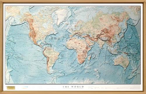 immagine di mappa in rilievo mappa in rilievo Planisfero fisico in rilievo con fondali degli oceani - con elegante cornice in legno - 100 x 70 cm