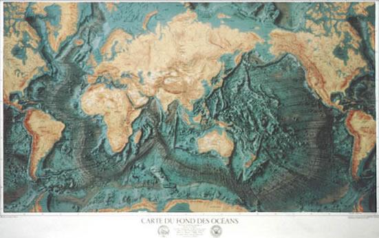 immagine di mappa murale mappa murale Planisfero con Fondali degli Oceani