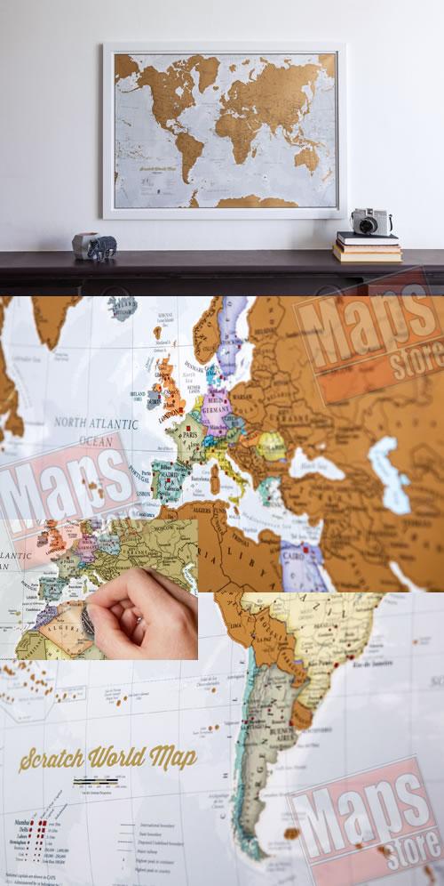 immagine di mappa murale mappa murale Planisfero da grattare! (Scratch Off World Map) - Gratta e Scopri il Mondo - mappa murale personalizzabile con cartografia di alta qualità, dettagliata e aggiornata - il regalo ideale per appassionati di viaggi - 84 x 60 cm - nuova edizione