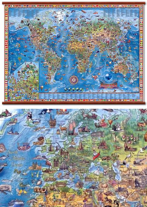 immagine di mappa murale mappa murale Planisfero illustrato 138 x 89 cm - Plastificato e Laminato con Aste in Legno