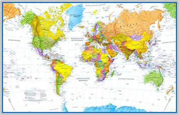immagine di mappa murale mappa murale Planisfero Magnetico XL - 215 x 135 cm - su pannello in metallo (scrivibile o per l'applicazione di calamite) con cornice + kit lavagna magnetica