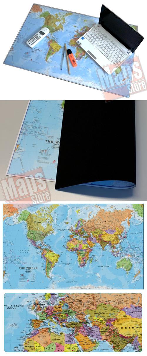 immagine di mappa mappa Planisfero Mousepad - sottomano in gomma flessibile da scrivania / mappa del mondo aggiornata su tappetino mouse - dim. 66 x 42 cm - lavabile, antiscivolo, impermeabile, antiriflesso - nuova edizione
