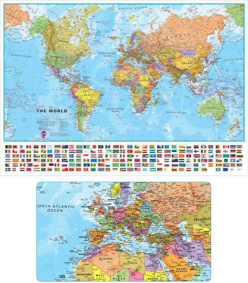immagine di mappa murale mappa murale Planisfero - mappa murale del mondo con bandiere e cartografia di alta qualità - 70 x 50 cm - ultima edizione aggiornata