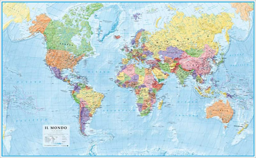 Cartina Mondo Dettagliata.Mappa Del Mondo Fisica E Politica Murale Da Parete