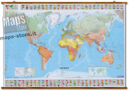 immagine di mappa murale mappa murale Planisfero Politico - con bandiere, fusi orari, densità demografica, tabelle climatiche e sezioni dei poli - plastificato e con eleganti aste in legno - 144 x 100 cm