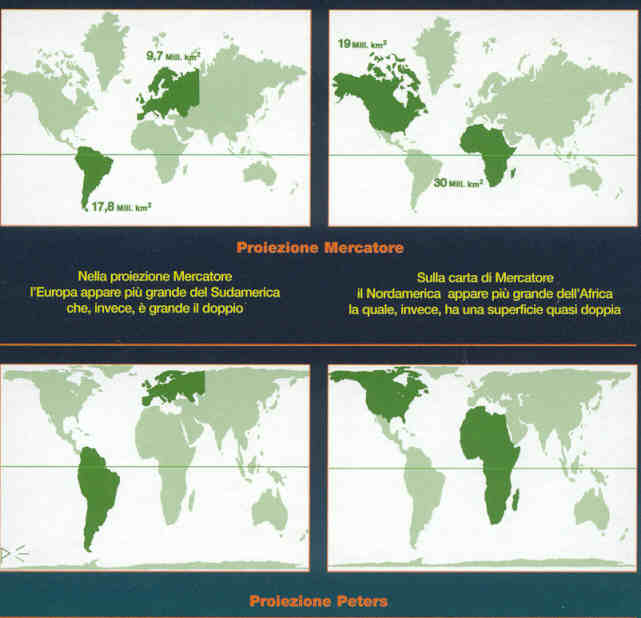 immagine di mappa mappa Planisfero Politico di Peters - La Carta del Mondo di Peters - Con la proiezione corretta del globo terrestre
