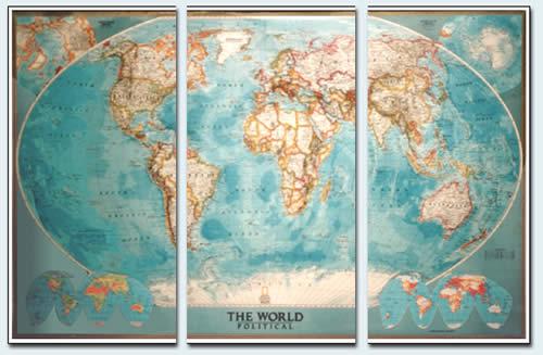 immagine di mappa murale mappa murale Planisfero Politico in 3 fogli, 285x195cm
