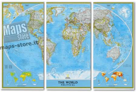 immagine di mappa murale mappa murale Planisfero Politico in 3 fogli, Grande Formato 285 x 195 cm - adatto per l'arredamento di casa, studio e ufficio - elegante ed aggiornato