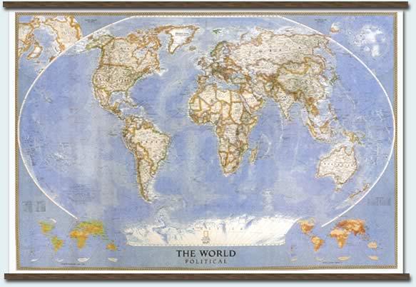 immagine di mappa murale mappa murale Planisfero Politico da arredamento casa/ufficio, plastificato/laminato 181x128cm