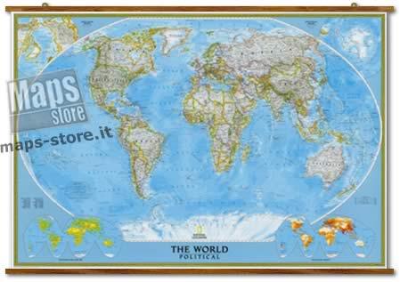 immagine di mappa murale mappa murale Planisfero Politico, Plastificato e Laminato - cartografia molto dettagliata, con eleganti aste in legno e ganci in acciaio, facile da applicare a parete - 190 x 128 cm - nuova edizione