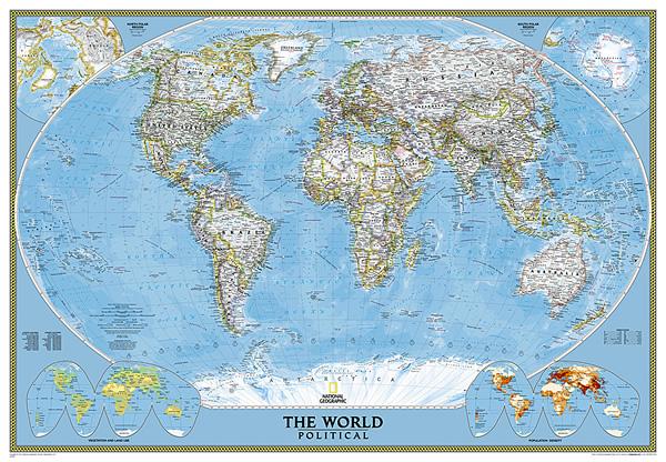 immagine di mappa murale mappa murale Planisfero Politico, Plastificato e Laminato - cartografia molto dettagliata, elegante, adatto per l'arredamento di casa, studio e ufficio - 185 x 120 cm - nuova edizione