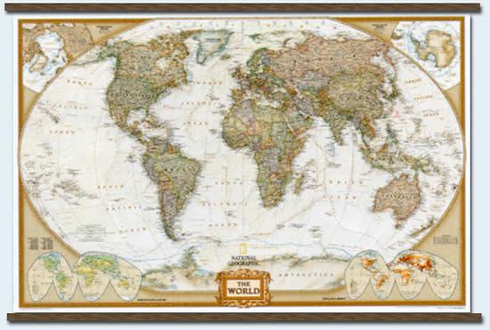 immagine di mappa murale mappa murale Planisfero Politico in stile antico con Stati moderni, plastificato/laminato 181x128cm