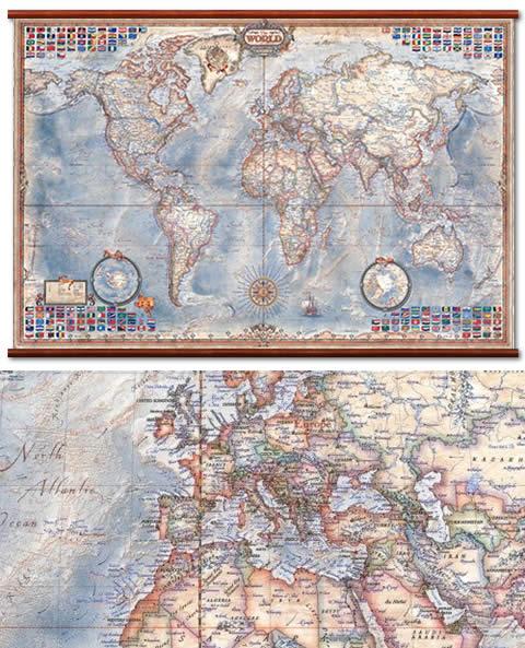immagine di mappa murale mappa murale Planisfero in Stile Antico - mappa murale, plastificata, laminata, scrivibile e lavabile con eleganti aste in legno e ganci in acciaio - cartografia antichizzata con confini attuali e bandiere degli stati - 136 x 92 cm