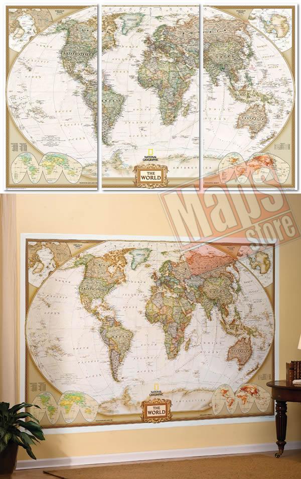 immagine di mappa murale mappa murale Planisfero in Stile Antico e Politico - in 3 fogli, dimensione totale 295x195cm