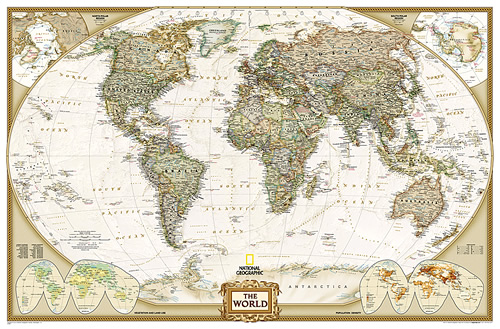 immagine di mappa murale mappa murale Planisfero in stile Antico con Stati moderni, Plastificato e Laminato - 185 x 120 cm - nuova edizione