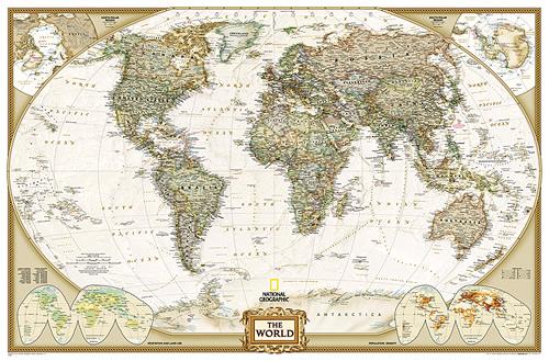 immagine di mappa murale mappa murale Planisfero in stile Antico con Stati moderni, Plastificato e Laminato - elegante, aggiornato, con cartografia molto dettagliata - 120 x 76 cm - nuova edizione