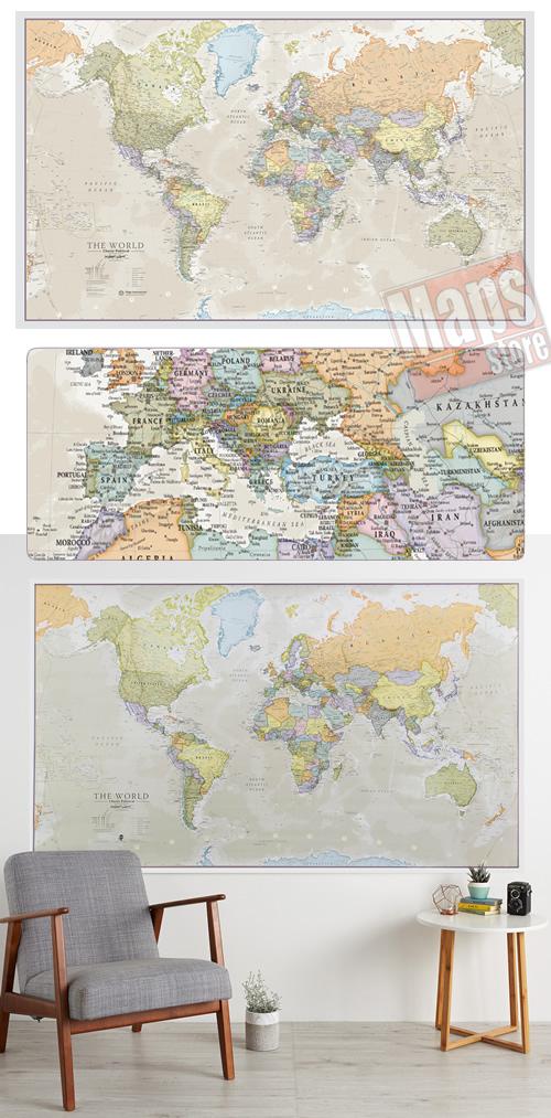 immagine di mappa murale mappa murale Planisfero in stile vintage - plastificato - 200 x 120 cm