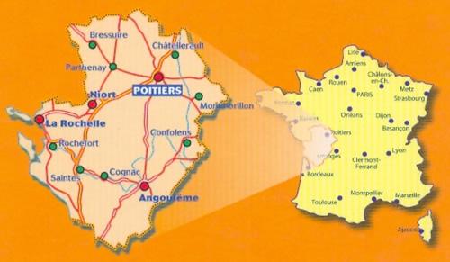 immagine di mappa stradale mappa stradale n. 521 - Poitou-Charentes - con Poitiers, Châtellerault, Montmorillon, Parthenay, Bressuire, Niort, Confolens, Angoulême, Cognac, Jonzac, Saintes, Saint-Jean-d'Angély, Rochefort, La Rochelle, Ile d'Oléron, Ile de Ré - mappa stradale con stazioni di servizio e autovelox - nuova edizione