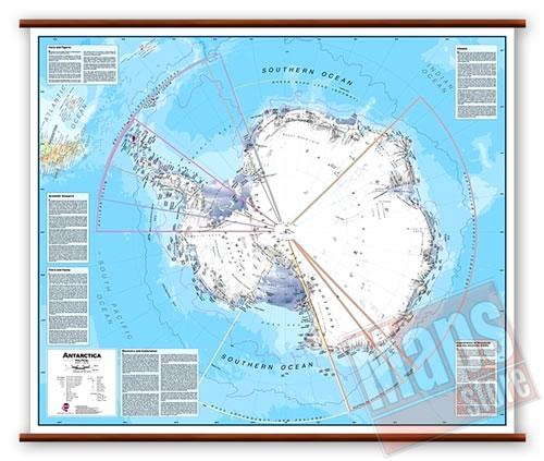 immagine di mappa murale mappa murale Polo Sud (Antartico / Antarctica) - mappa murale plastificata, laminata, scrivibile e lavabile, con aste in legno e ganci in acciaio - 125 x 100 cm