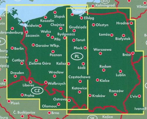 immagine di mappa stradale mappa stradale Polonia / Poland / Polska - con Varsavia (Warszawa), Cracovia (Kraków), Łódź, Breslavia (Wrocław), Poznań, Danzica (Gdańsk), Stettino (Szczecin), Bydgoszcz, Lublino (Lublin), Katowice, Białystok, Gdynia, Częstochowa, Radom, Sosnowiec, Kielce, Toruń, Gliwice, Zabrze, Bytom - edizione 2020