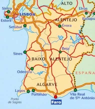 immagine di mappa stradale mappa stradale n.593 - Portogallo del Sud e Algarve - con Lisboa/Lisbona, Setubal, Evora, Beja, Lagos, Portimao, Faro, Sines